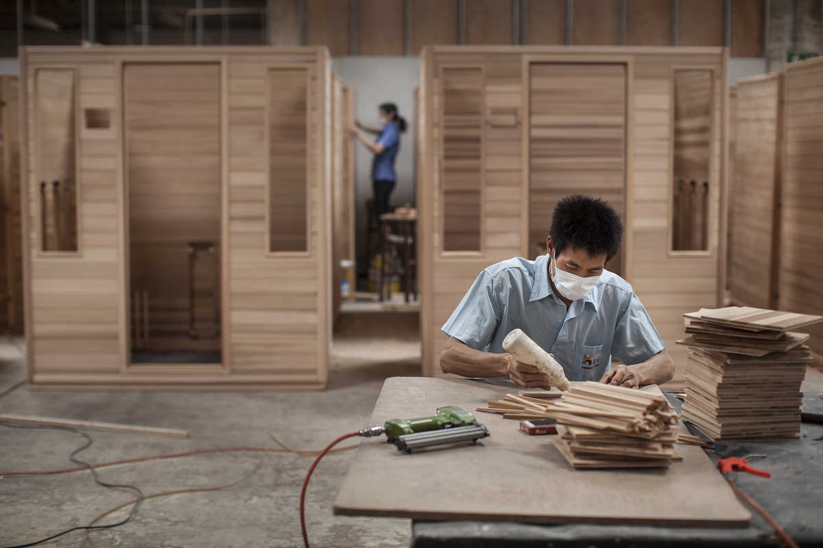 Industrial photograph at the Hongyuan Furniture Company factory in Guangzhou.