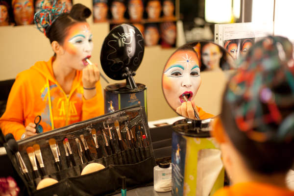 Chicago Rose applies makeup for a Venetian Macau Cirque du Soleil Zaia show