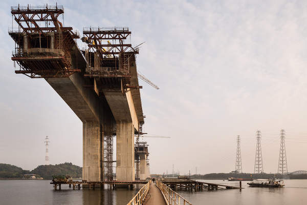 A new bridge spans the Pearl River in Haizhu District