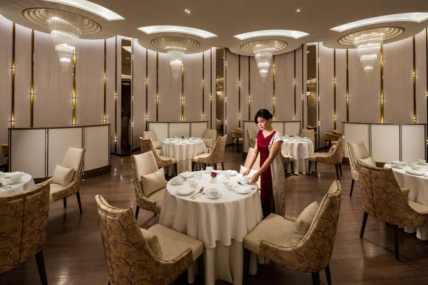 Interior of the Man Ho restaurant in Macau, China