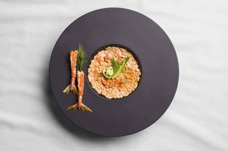Risotto with prawn.