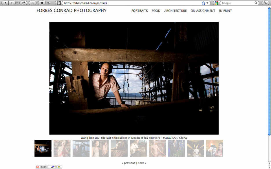 forbesconrad.com portrait photography gallery screenshot