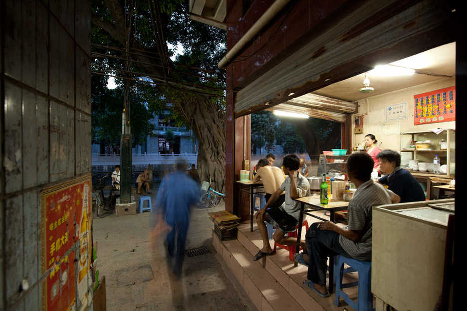 Open restaurant at a small water village in Tianhe district