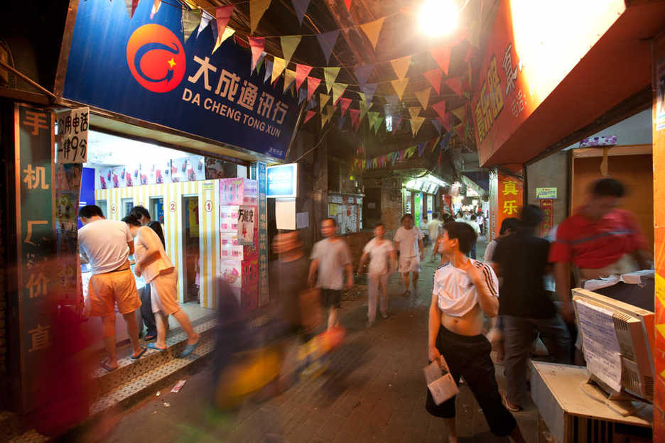 Busy alleyway in northern Tianhe district, Guangzhou