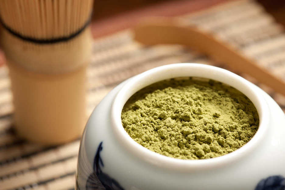 Japanese matcha, a powder made from finely ground green tea leaves.