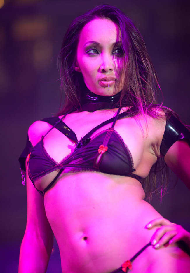 Porn actress Katsumi performs on stage at the Asia Adult Expo