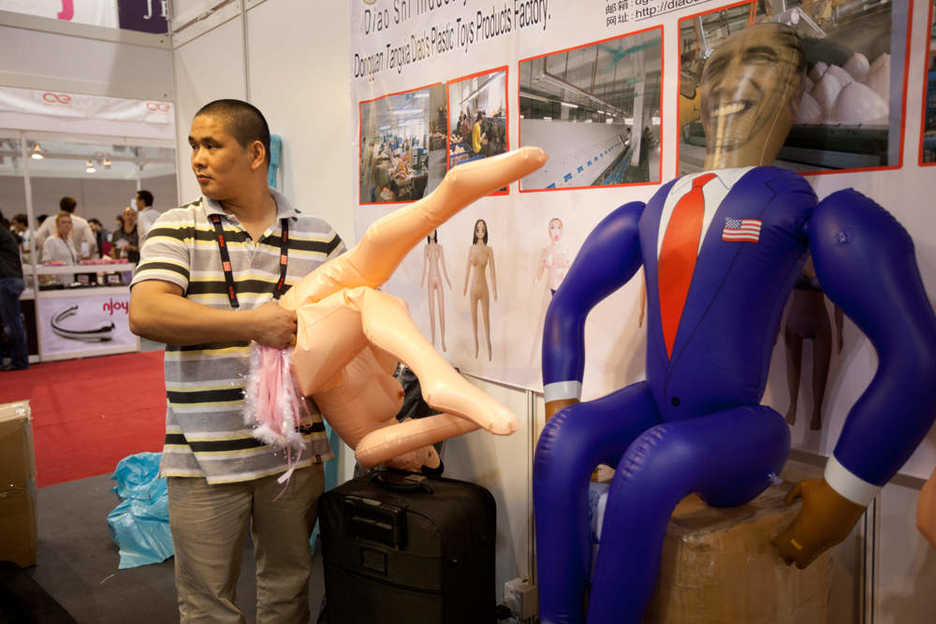 Inflatable dolls at the Asia Adult Expo, including a Barack Obama doll
