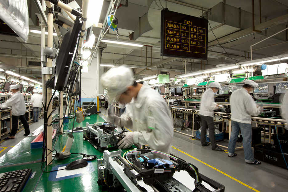 Foxconn / Hon Hai assembly line in Longhua, Shenzhen, China
