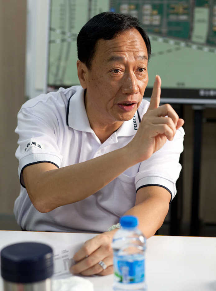 Foxconn / Hon Hai founder and chairman Terry Gou speaks to reporters
