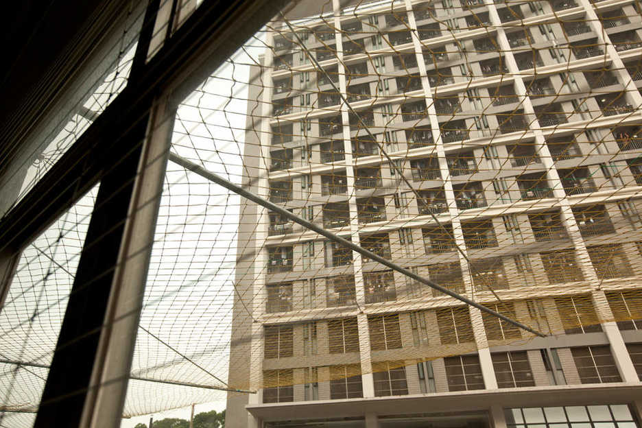 Safety nets to prevent suicides deployed outside Foxconn / Hon Hai building