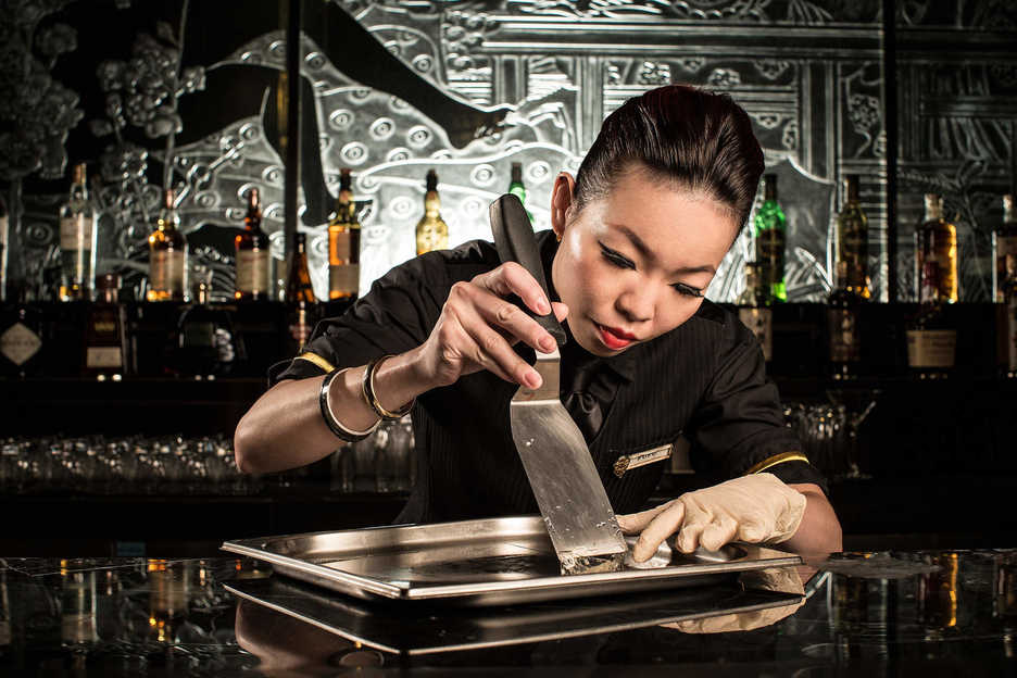 Fufu makes a Dim Sum Cocktail at the China Rouge nightclub in Macau