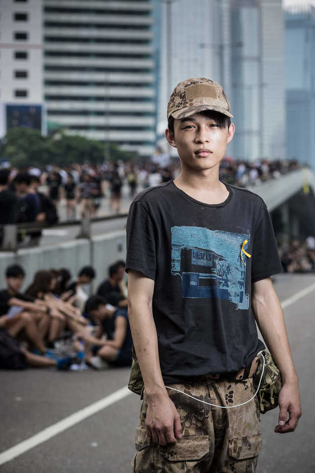 Pro-democracy protester poses in Central, Hong Kong