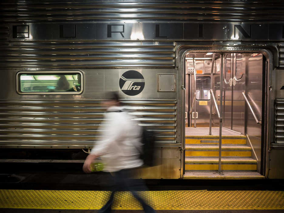 Jonathan Castillo walks to a commuter train car in Chicago