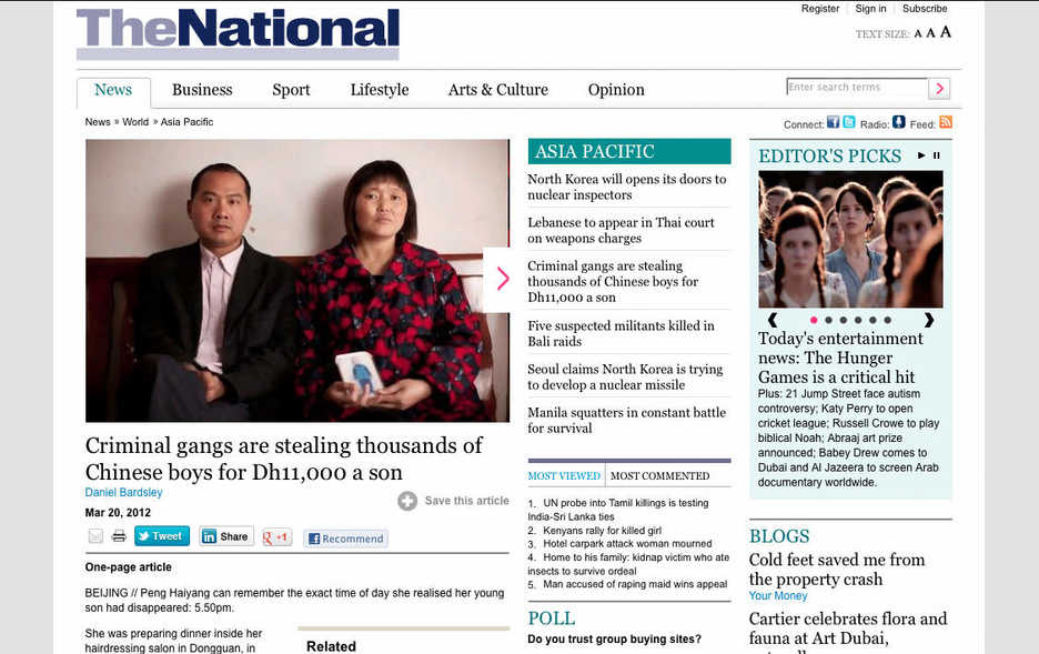Screenshot of an article in The National Abu Dhabi about missing children in China