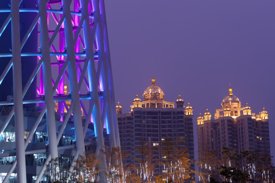 Lower part of the Canton Tower along with neighboring buildings