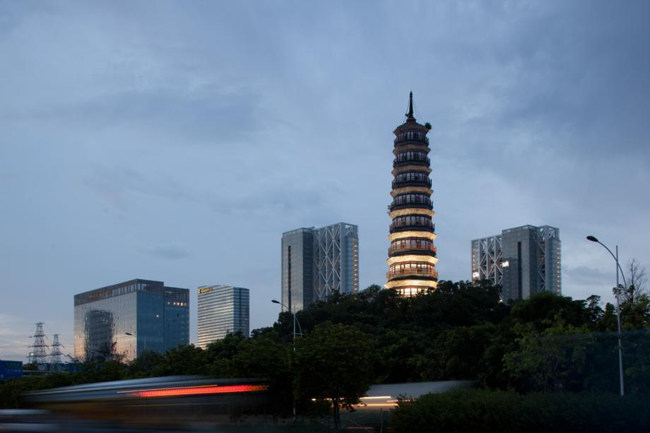Pazhou pagoda and modern buildings near the canton fair complex in Guangzhou